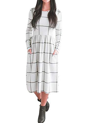 PRIMODA Women's Long Sleeve Grid Tunic Midi Dress Casual Empire Waist Knee Length Dresses with Pockets(White,L)