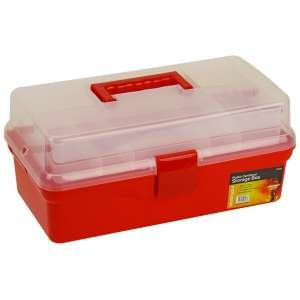 Blackspur plastic cantilever storage organiser box 2 tray for Craft storage boxes plastic