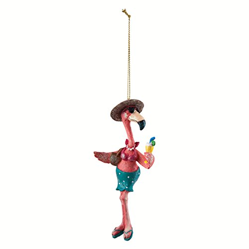Resin Beach Babe Flamingo Ornament 5.5