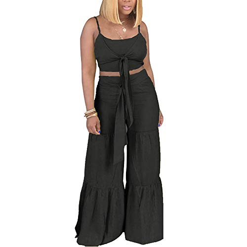 - Women's Two Piece Outfits Jumpsuits Spaghetti Strap Tie Up Crop Top and Wide Leg Palazzo Pants Set Clubwear Black XL