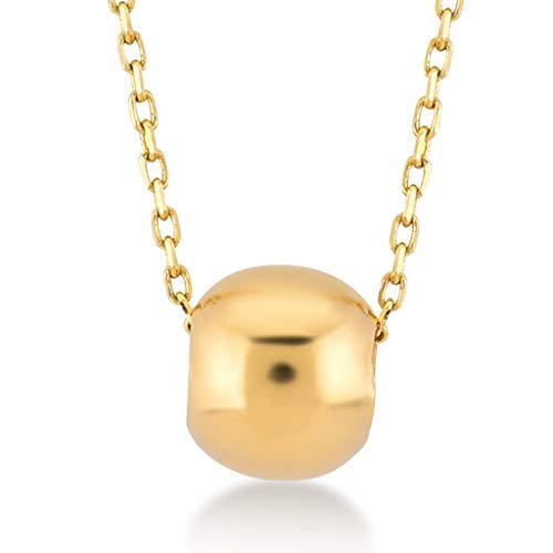Gelin 14k Yellow Gold Ball Bead Chain Necklace for Women - A Perfect Certified Fine Jewellery Gift for Valentine's Gift for Her, 18 inch ()