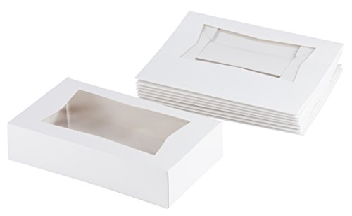 White Paperboard Popup Window Box - Pack of 10 White Paperboard Pop-Up Window Box, Pastry & Cake Bakery Boxes with Plastic Window, 8 x 5.5 x 2 Inches