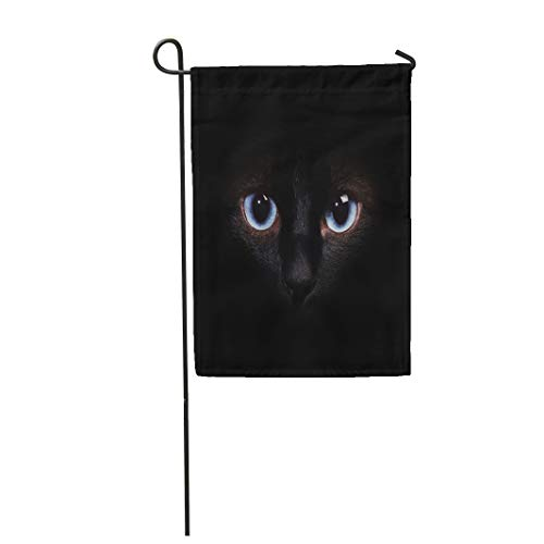 Semtomn Garden Flag 28x40 Inches Print On Two Side Polyester Blue Dark Eyes of The Siamese Cat in Darkness Brown Cheshire Animal Space Female Home Yard Farm Fade Resistant Outdoor House Decor Flag