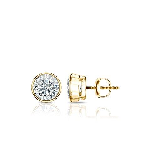 (Diamond Wish 14k Yellow Gold Round Diamond Stud Earrings (1/2 cttw, H-I, I2-I3) Bezel-set with Screw-Backs)
