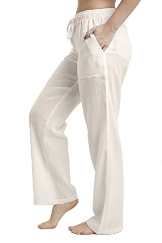 J & Ce Women's Gauze Cotton Beach Pants with Pockets (Cream, XS) ()