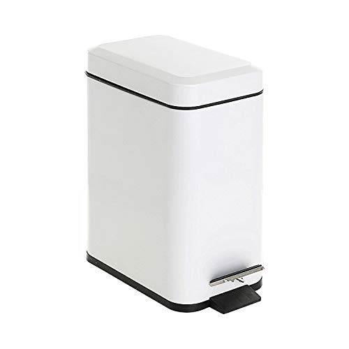 GiniHome Office Bin, Small Kitchen & Bathroom, Waste Basket-Soft Close, Waterproof and Easy to Clean-5 Liter/1.3 Gallon (White) Cuboid Step Trash Can with Lids