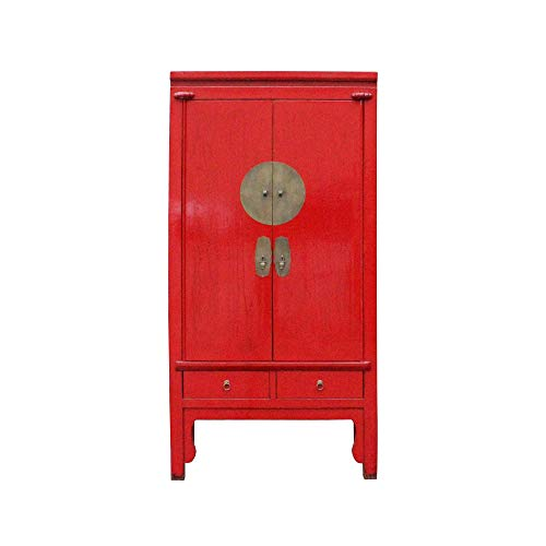 Chinese Distressed Red Tall Wedding Armoire Wardrobe TV Cabinet Acs4885 from A Large Cabinet