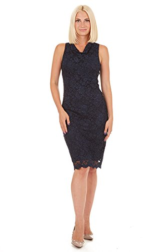ONYX Nite Women's Sleeveless Cowl Neck Sparkle Lace Shift Dress with Scallop Hem Navy 12 (Shift Cowl Neck Dress)