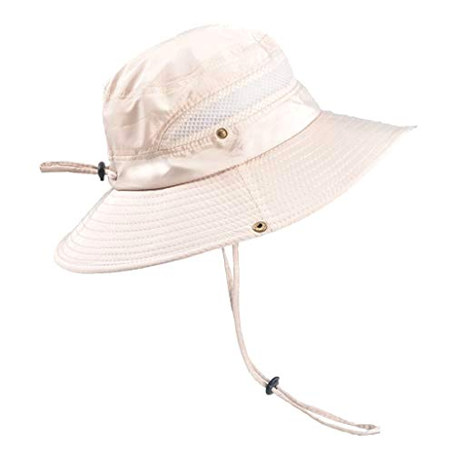 Excursion Sports Fisherman Hat, Men and Women Safari Cap with Sun Protection, Quick Dry Wide Brim Sun-Shading Boonie Hat for Fishing Camping Hunting (Beige) ()