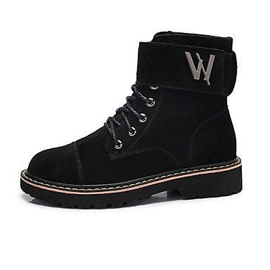 RTRY Zapatos De Mujer De Cuero De Nubuck Moda Otoño Invierno Botas Botas Para El Ejército Casual Verde Negro US7.5 / EU38 / UK5.5 / CN38