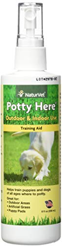 NaturVet - Potty Here Training Aid Spray - Attractive Scent Helps Train Puppies & Dogs Where to Potty - Formulated for Indoor & Outdoor Use - 8 oz