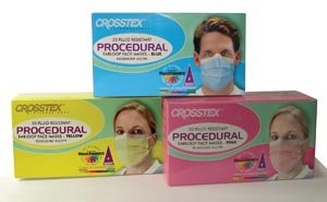 Crosstex Procedural Earloop Mask, Yellow, Latex Free (LF) GCPYE