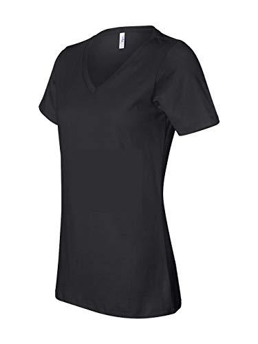 Bella girls Missy's Relaxed Jersey Short-Sleeve V-Neck T-Shirt(6405)-BLACK-L Bella Short Sleeve T-shirt