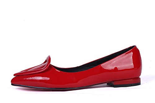BalaMasa Womens Studded Rhinestones Metal Buckles Mule Low Heels Patent Leather Pumps-Shoes Red M5rqWHGw