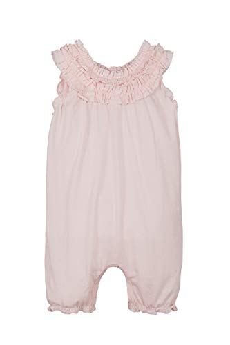 Feather Baby Girls Clothes Pima Cotton Short Sleeve Double Ruffle One-Piece Romper (3-6 Months, Solid Coral)