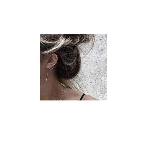 (FarryDream 925 Sterling Silver Cuff Chain Earrings Wrap Tassel Earrings for Women)