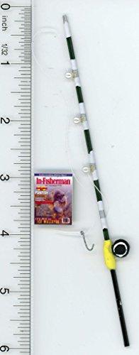Dollhouse Miniature Fishing Pole & Magazine