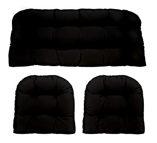 (3 Piece Wicker Cushion Set - Indoor / Outdoor Black Solid Fabric Cushion for Wicker Loveseat Settee & 2 Matching Chair Cushions)