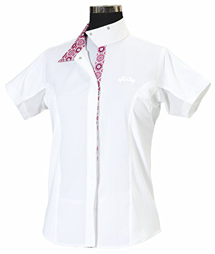 - Equine Couture Women's Kelsey Short Sleeve Show Shirt, White/Pink, 42
