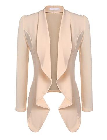 Beyove Women's 3 4/Long Sleeve Lightweight Open Front Cardigan Blazer Jacket (Office Coat)