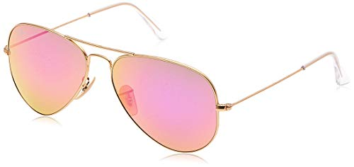 RAY-BAN RB3025 Aviator Large Metal Flash Mirrored Sunglasses, Matte Gold/Violet Flash, 58 mm (Black Ray Pink And Bans)