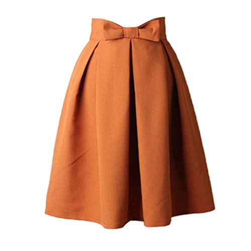 Nadition Womens Vintage Skirt Casual Knee Length High Waist Pleated Bow Dress Simple Office Workout Pleat Skirts Brown ()