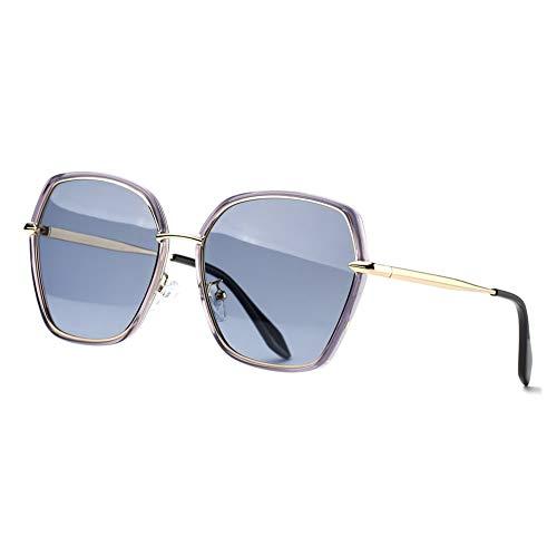 REBSUN Oversized Sunglasses for Women Polarized UV Protection Big Square Black Designer Sunglasses Fashion Women Grey ()