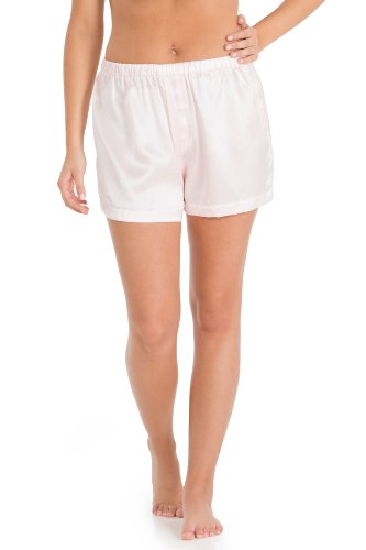 Fishers Finery Women's 100% Mulberry Silk Boxer; Lounge Shorts (Pink, XS)