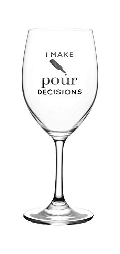I Make Pour Decisions – Cute, Novelty, Etched Wine Glass by Lushy Wino - Large 16 Ounce Size with Funny, Etched Sayings - Gift Box