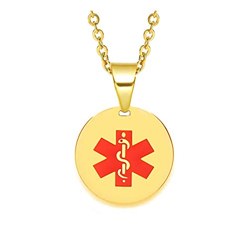 Round Medical Pendant - Stainless Steel Medical Alert ID Necklace Round Pendant Gold Chain 22