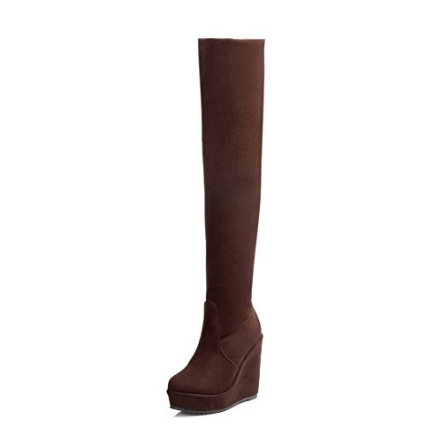 AllhqFashion Womens Solid Imitated Suede High-Heels Pull-On Round Closed Toe Boots Brown 3iiuT3RK