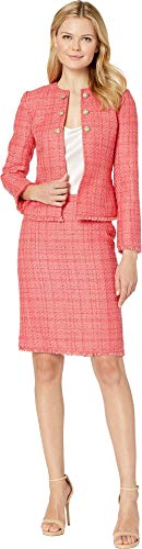 Tahari by ASL Women's Boucle Skirt Suit with Gold Finish Trim Coral 14 -