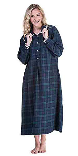 Lanz of Salzburg Women's Long Sleeve Flannel Gown, Blue/Green Plaid, Medium ()