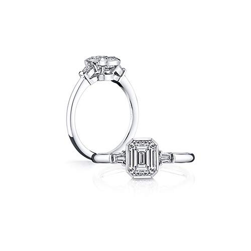 1.5 ct Emerald Cut Baguette 3 Stones Platinum Plated Sterling Silver Cubic Zirconia CZ Promise Engagement Ring - Sterling Silver Baguette Plated