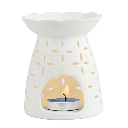 Tea Light Holders, Aromatherapy Essential Oil Wax Tart Warmers Burners Melter Diffusers Aroma Ceramic Candle Holder Night Light Lamp Porcelain Decoration for Parlor Bedroom Carved Star Clover White