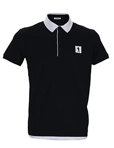 Bikkembergs - Short Sleeve Polo Shirt for Men Dirk Black with White Collar - 2XL, - Bikkembergs Shirts Men
