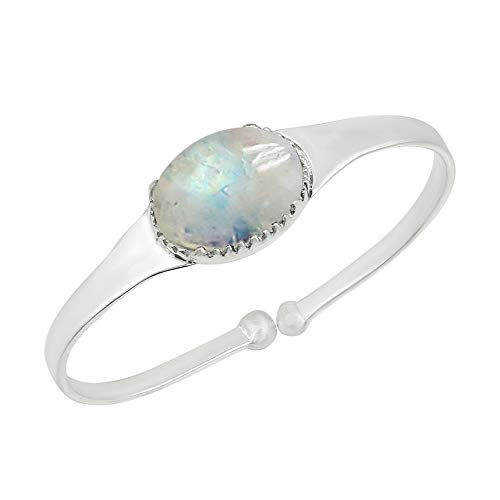 Genuine Oval Shape Moonstone Cuff Bangle 925 Silver Plated Handmade Jewelry for Women Girls - Moonstone Silver Bangles