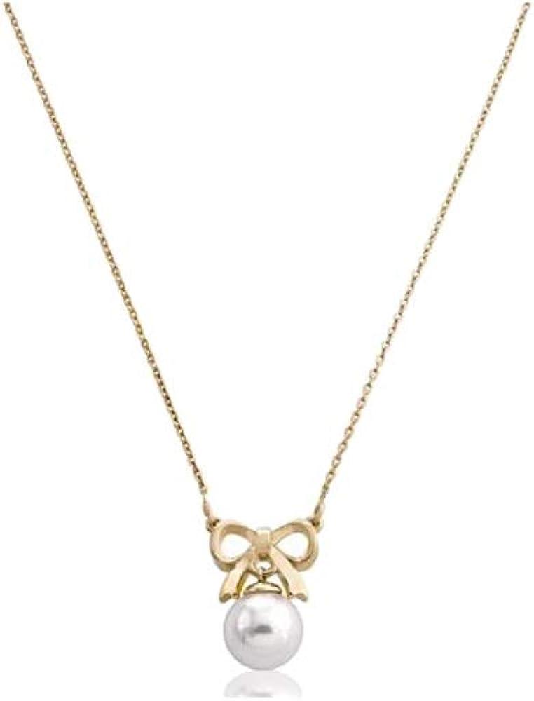 Majorica Collar Mujer Plata bañada en Oro con Colgante en Forma de Lazo y Perla 15300.01.1.000.010.1