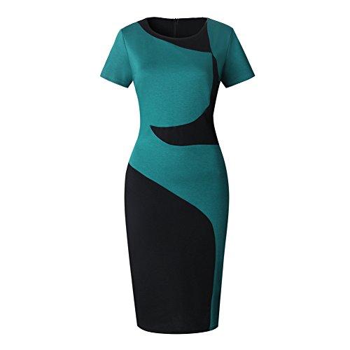 Womens Colorblock Career Dress Ponte Wear to Work Office Sheath Pencil Dresses Ranphee Multi Medium