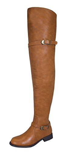 Renee-14W Women's Thigh High Causal Rider Boots with Dual Buckle (Fancy Cognac)
