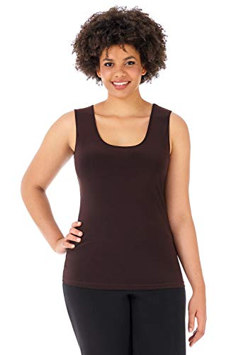Rekucci Travel in Style - Curvy Woman Knit Scoop Neck Plus Size Tank Top (2X,Espresso)
