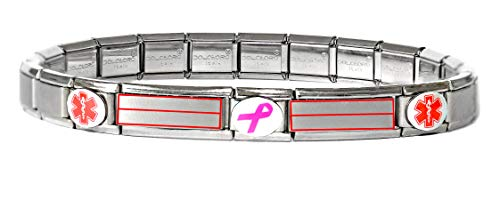 Dolceoro Customized Medical Alert Bracelet - Stainless Steel Stretchable Modular Charms - 2 Personalized Super Links