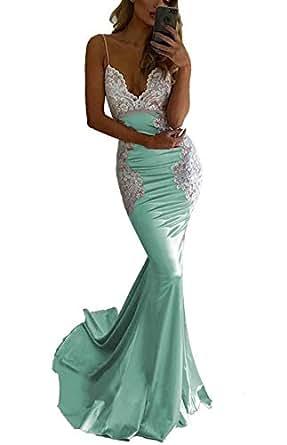SDRESS Women's Lace Appliques Backless Bridesmaid Dress