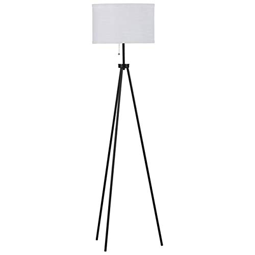 Rivet Minimalist Tripod Floor Lamp, With Bulb, 58.3 x 15 x 15 , Black
