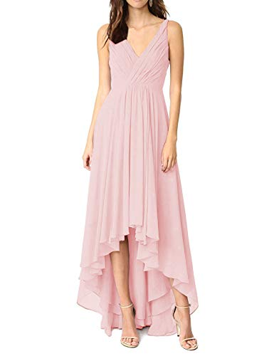 Women's Ruched Bodice High Low Chiffon Bridesmaid Dress Short Wedding Guest Dresses Blush,0