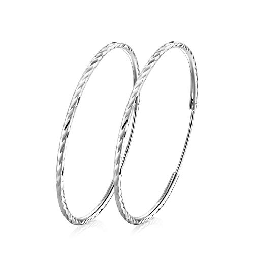 - T400 925 Sterling Silver Hoops Diamond Cut Round Circle Lightweight Hoop Earrings Small and Large 25 35 45 55 65 mm Birthday Gift for Women Girls