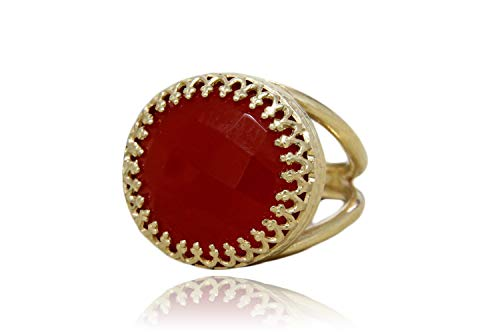 Round Red Onyx Cocktail Ring By Anemone Jewelry - Classy Vintage 14K Gold Statement Ring Of All Sizes With Fancy Jewelry Box & Engraving [Handmade] ()