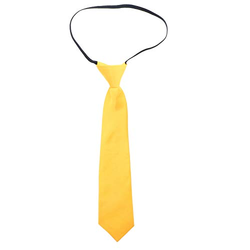 George Yellow Hat (Solid Kid Necktie Pre-tied Elastic Ties for Boys -)
