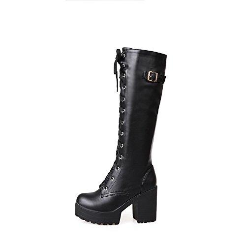 a tacco Agoolar Stivali alto punta con unita nera tinta in pelle fibbia tonda xFxt5T4