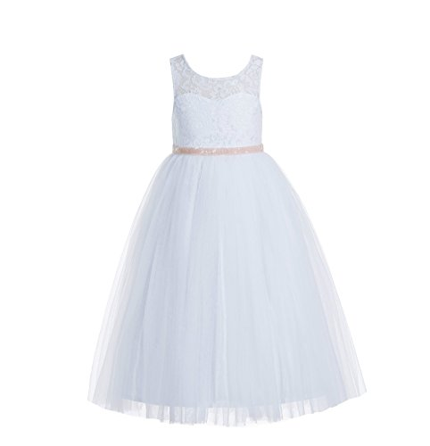 - ekidsbridal Floral Lace Scoop Neck A-Line White Flower Girl Dresses Keyhole Back Communion Dresses Pageant Dress 178 8